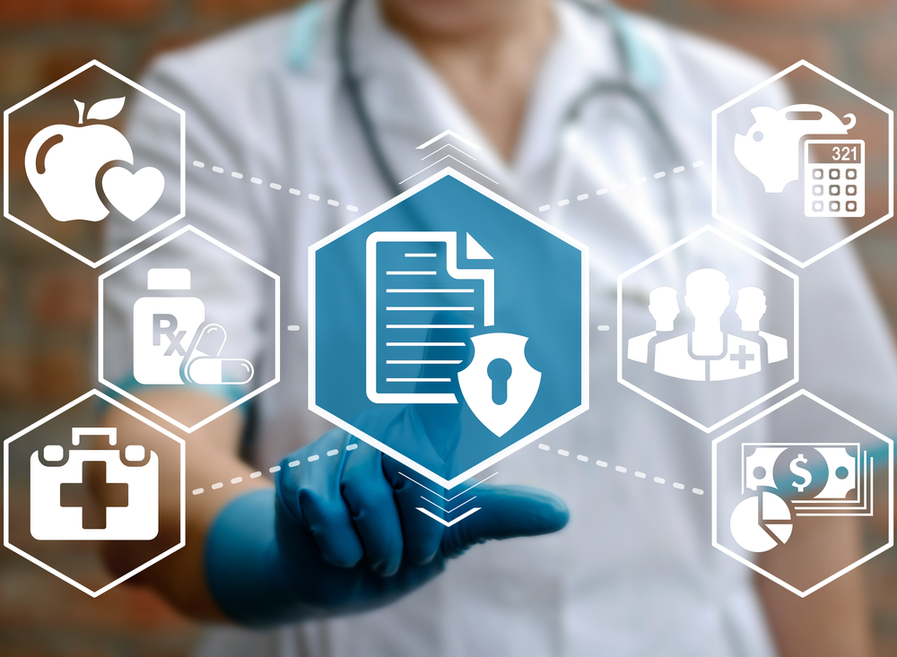 Medical,Health,Care,Insurance,Concept.,Doctor,Presses,Clipboard,Shield,Icon