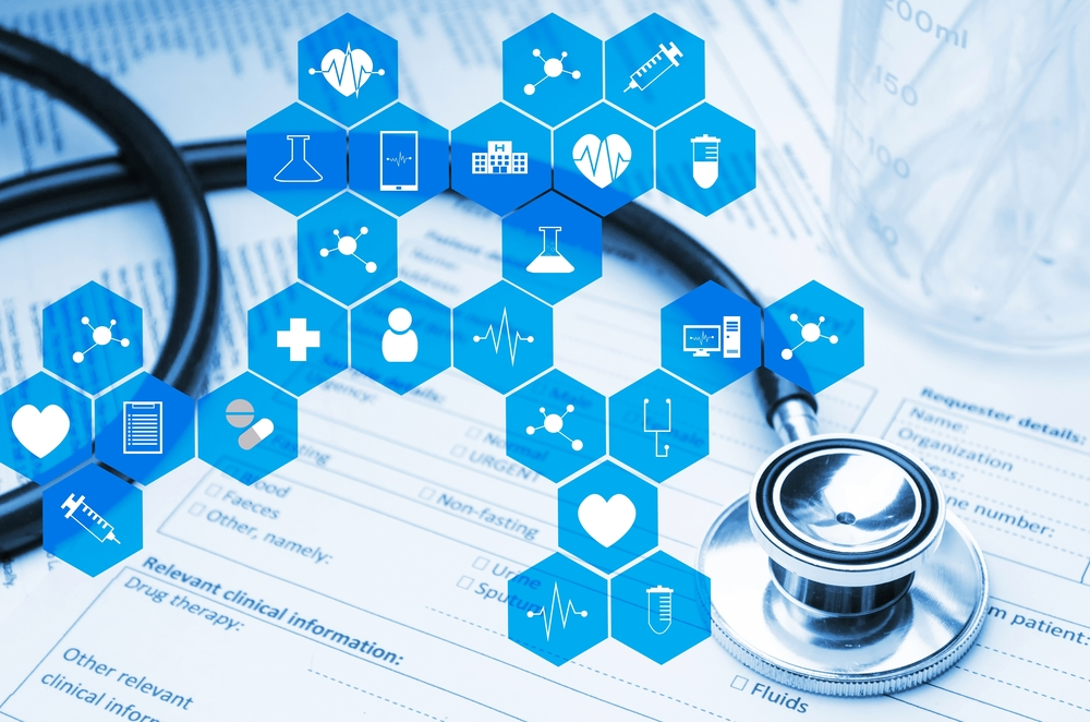 Stethoscope,,Test,Tube,,Beaker,And,Medical,Information,Form,On,Desk