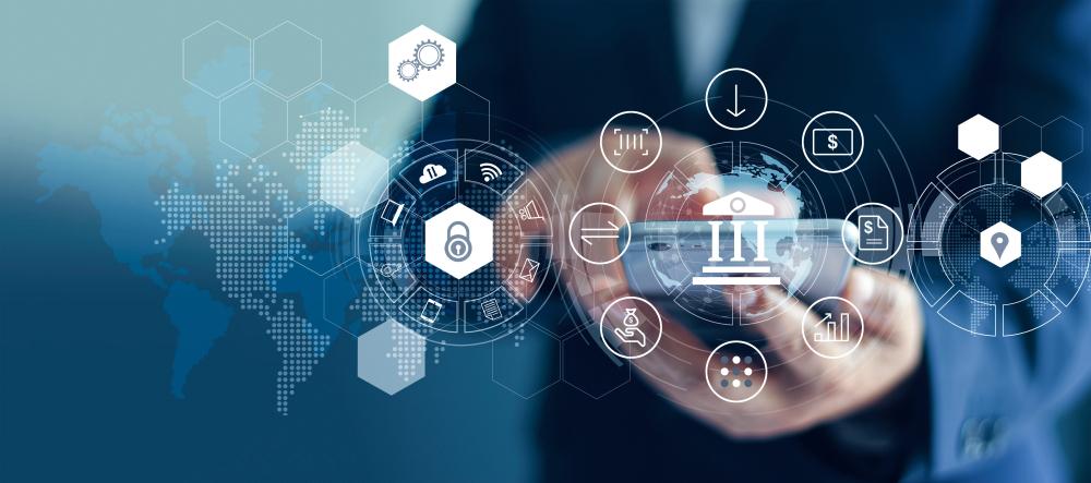 Futuristic visual of banking.