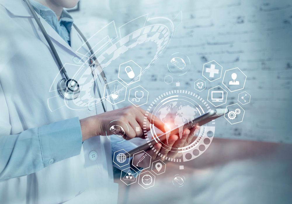 Double,Exposure,Of,Healthcare,And,Medicine,Concept.,Doctor,Using,Modern