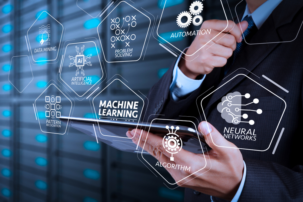 Machine,Learning,Technology,Diagram,With,Artificial,Intelligence,(ai),neural,Network,automation,data,Mining