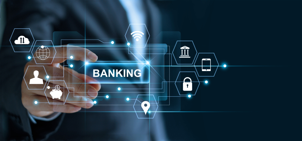 Businessman,Holding,Word,Banking,In,Hand,With,Icon,Network,Connection