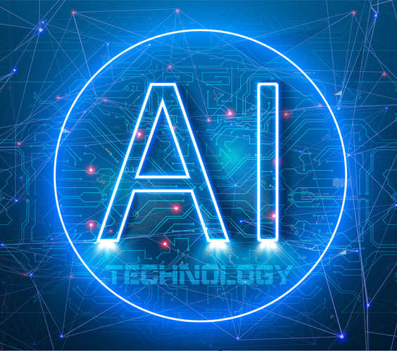 AI in a neon blue circle. Abstract futuristic digital and technology on light blue color background. Artificial Intelligence AI landing page. Website template for deep learning concept.